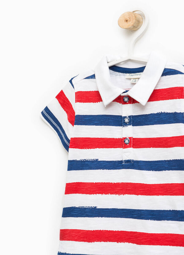 Striped polo shirt with bluff collar | OVS