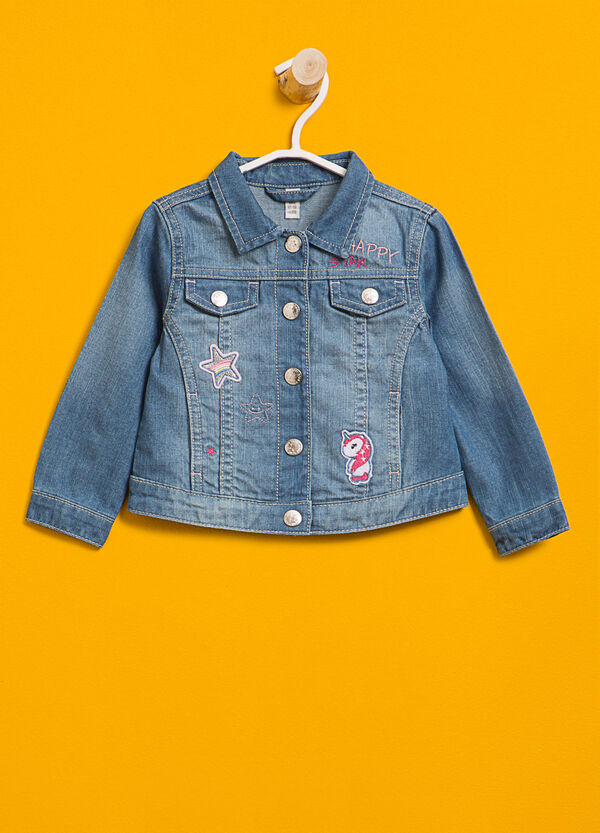 Washed-effect denim jacket with patch | OVS