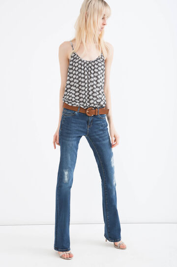 Patterned top with spaghetti straps