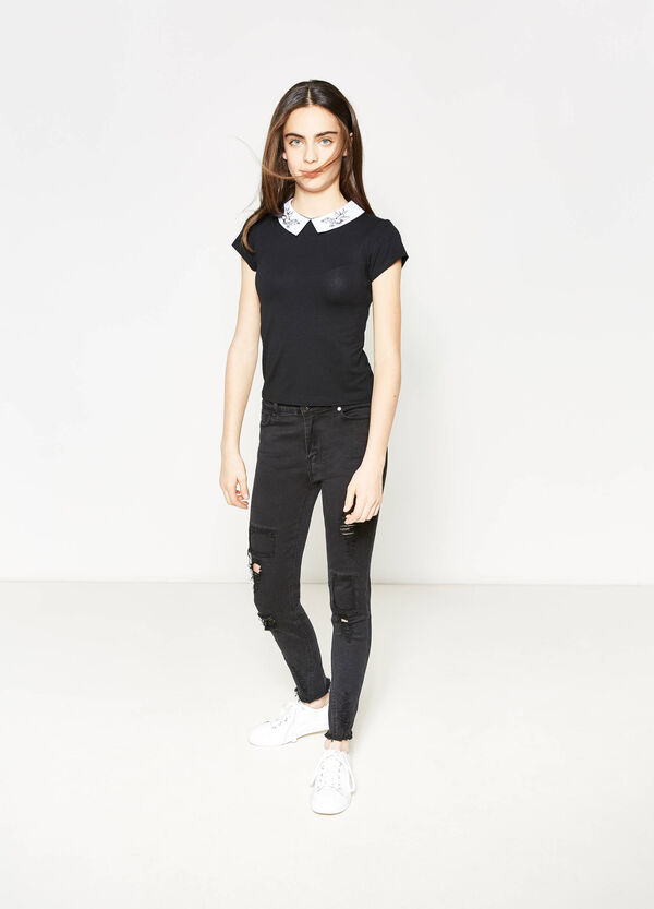 Teen stretch T-shirt with embroidered collar | OVS