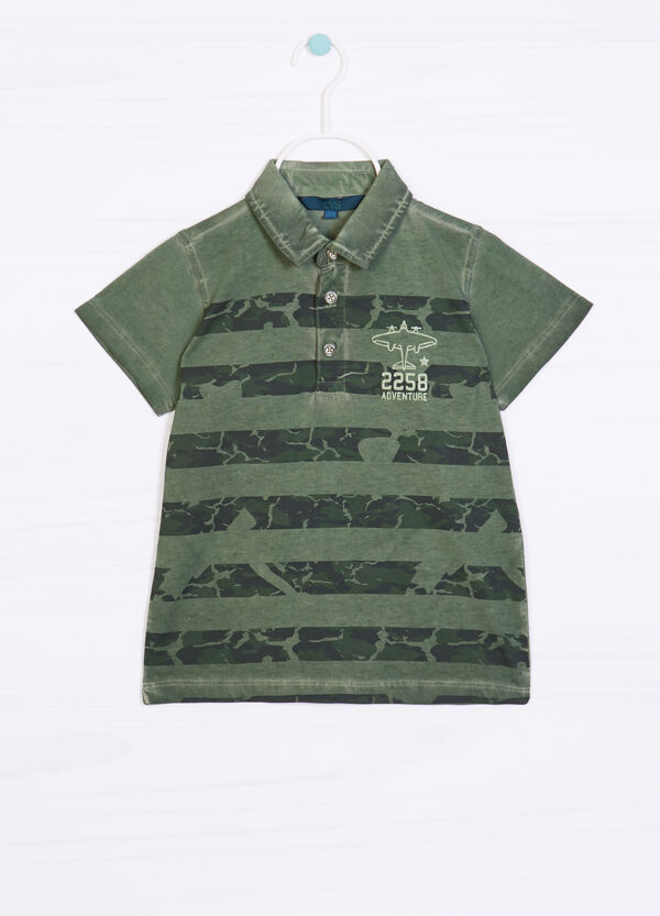 Striped camouflage polo shirt in 100% cotton | OVS