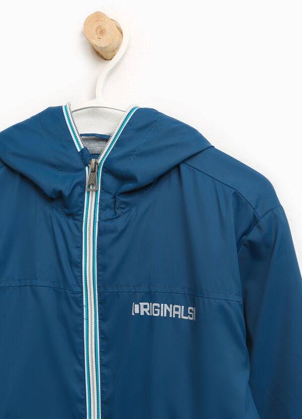 Jacket with hood and printed lettering | OVS