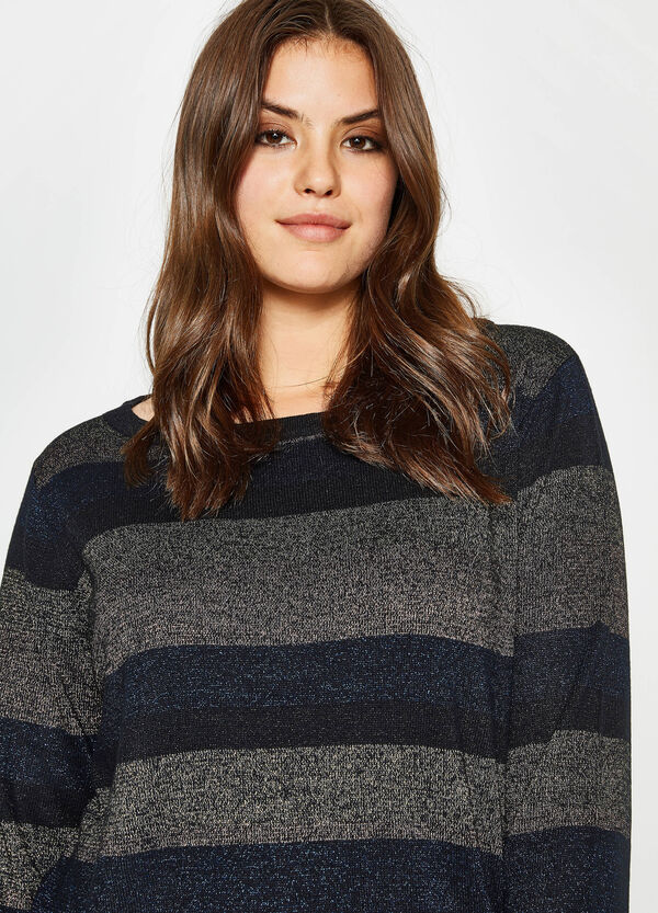 Curvy striped pullover with lurex | OVS