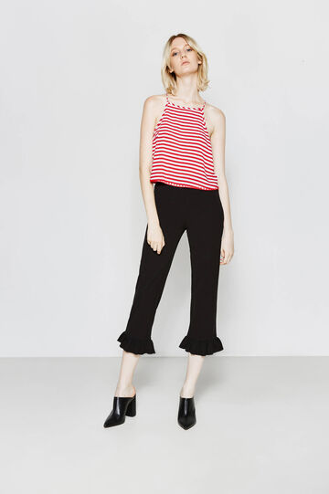 Pantaloni crop stretch con volant