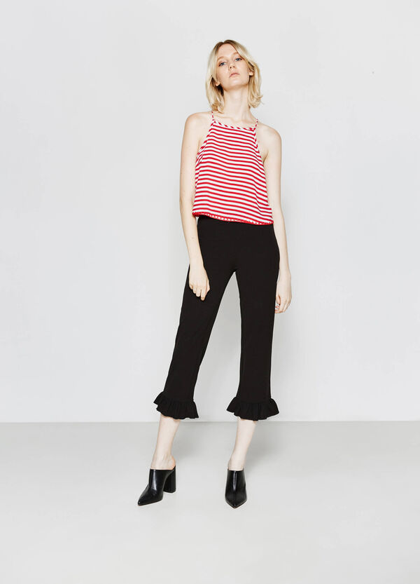 Stretch cropped trousers with frill | OVS