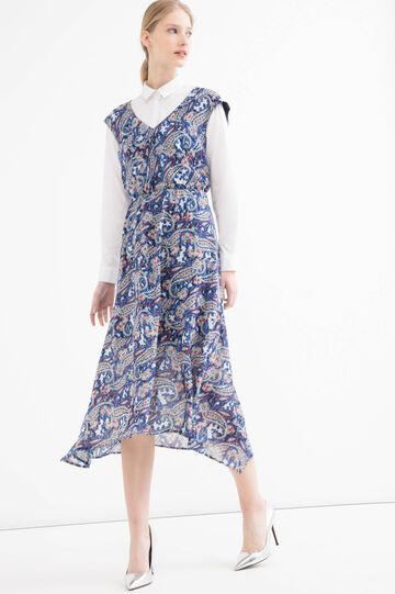 V-neck, full-length patterned dress