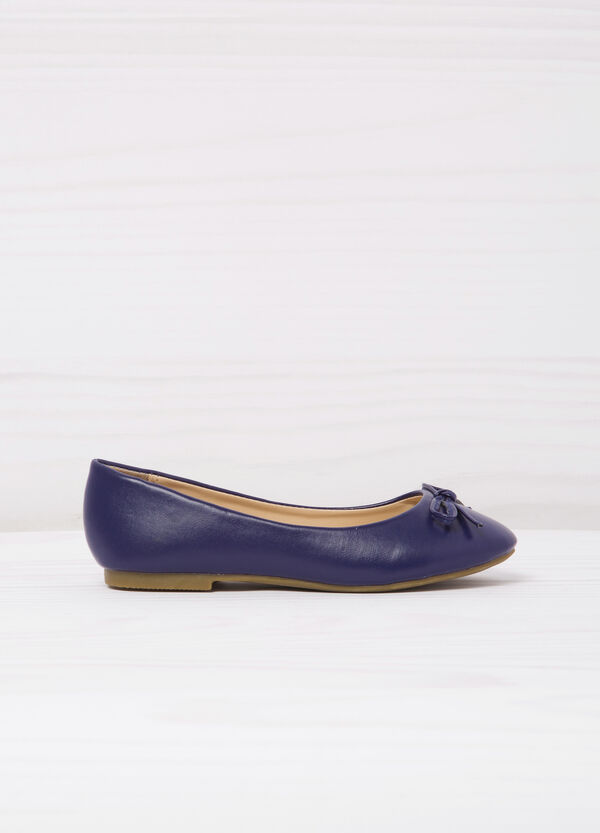 Leather look ballerina flats with bow | OVS