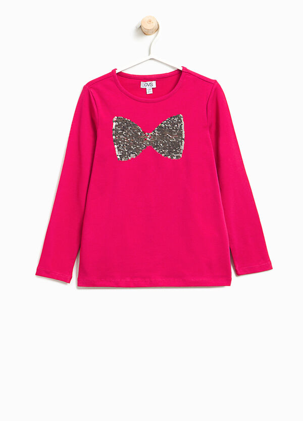Stretch T-shirt with bow sequins | OVS
