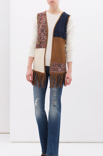 Suede look waistcoat with fringe