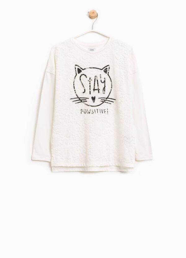 T-shirt in cotone con pizzo e stampa | OVS