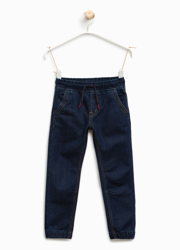Solid colour jeans with drawstring | OVS