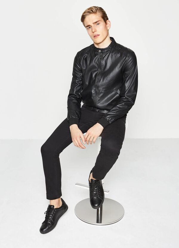 Leather-look jacket with ribbing | OVS