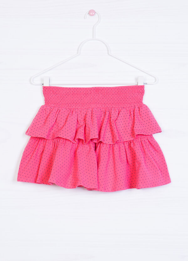 Stretch skirt with patterned frills | OVS