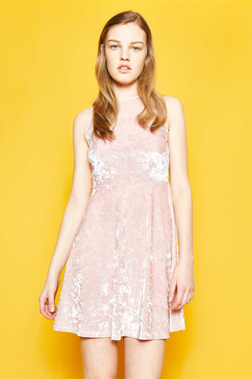 Sleeveless chenille dress with lace