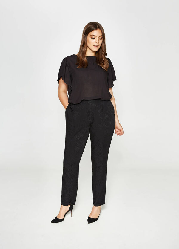 Curvy relaxed-fit floral trousers | OVS