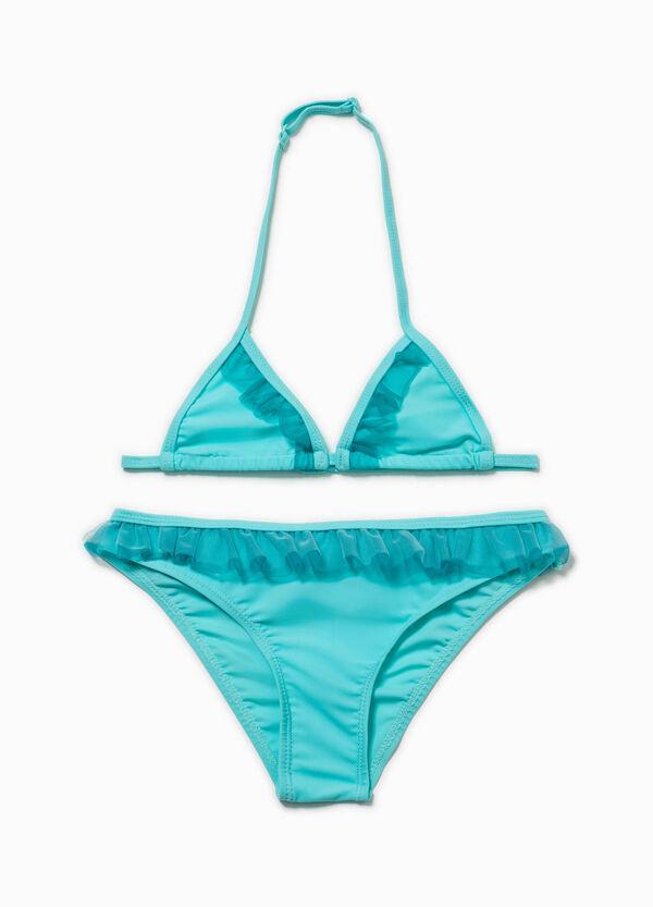 Bikini stretch con volants in tulle   OVS