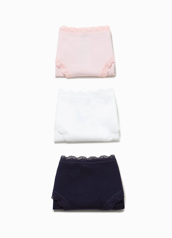 Three-pack briefs in 100% cotton with lace | OVS