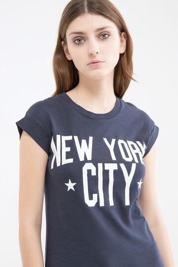 Cap-sleeved cotton T-shirt