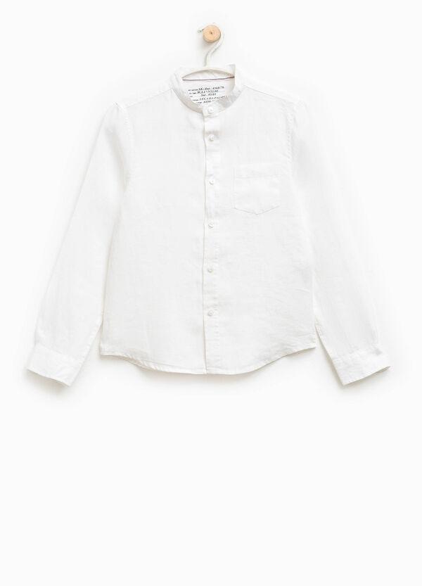 Camicia in lino con colletto alla coreana | OVS