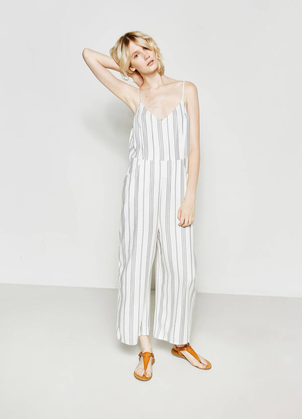 Striped sleeveless playsuit | OVS
