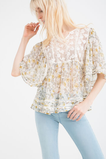 Printed blouse with embroidered inserts
