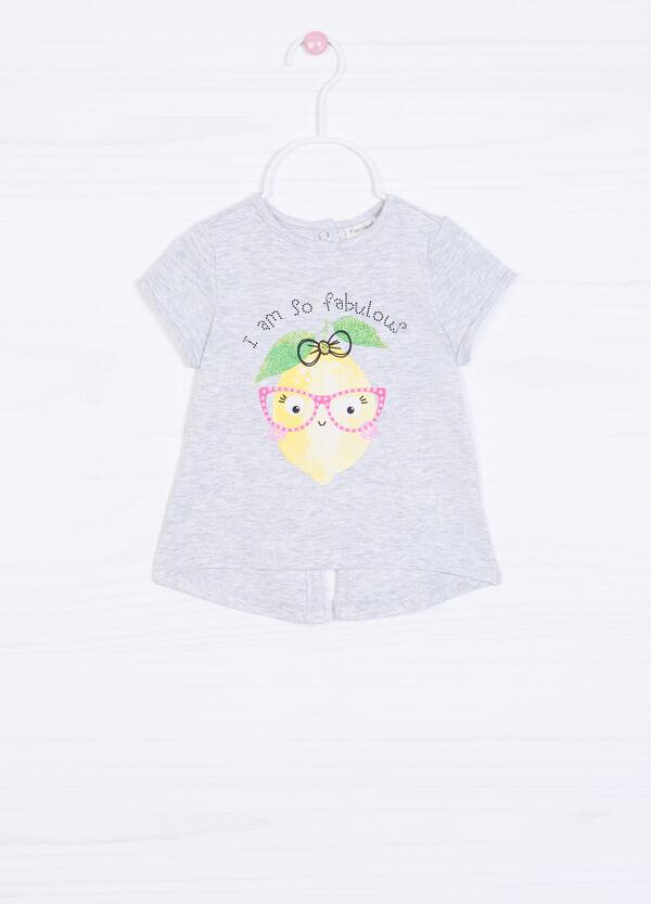Printed diamanté T-shirt in cotton.   OVS