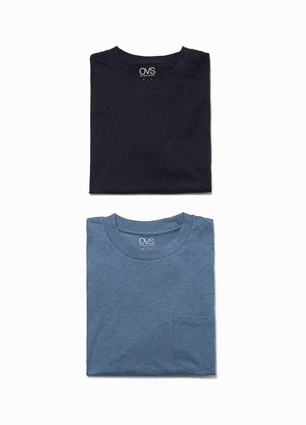 Two-pack cotton pyjama tops with pocket | OVS