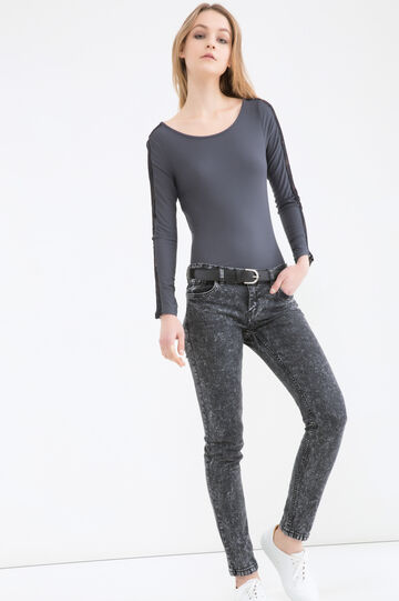 Stretch T-shirt with lace