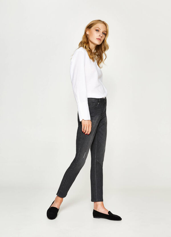 Worn-effect ankle-fit stretch jeans | OVS