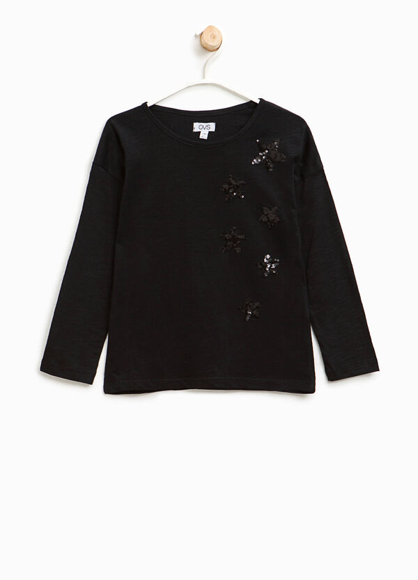T-shirt in cotone con paillettes | OVS