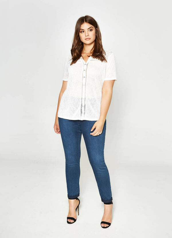 Curvy openwork cotton shirt | OVS