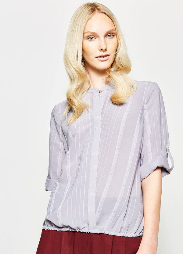 Blouse with striped weave and opening | OVS