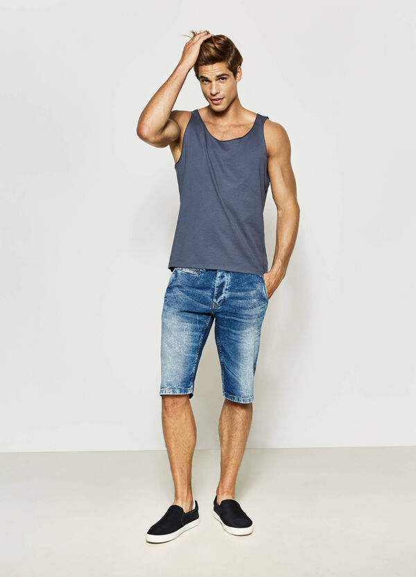 Cotton vest with raw edges | OVS