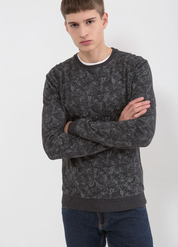 Cotton blend patterned sweatshirt | OVS