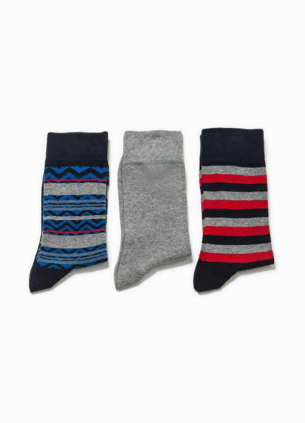Three-pair pack short solid colour and striped socks | OVS