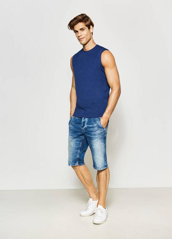 Slim-fit mis-dyed denim Bermuda shorts | OVS