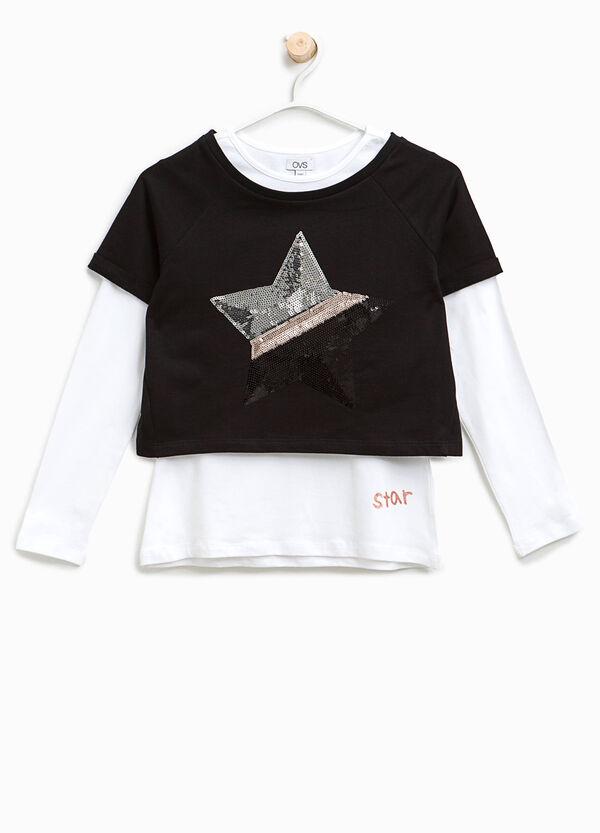 T-shirt finto doppio con paillettes | OVS