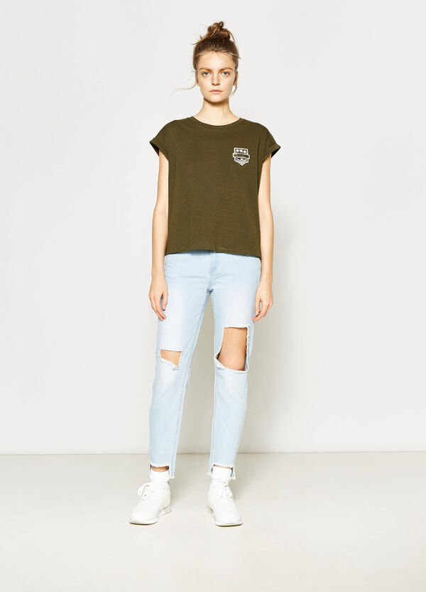 Girlfriend-fit worn-effect jeans with rips | OVS
