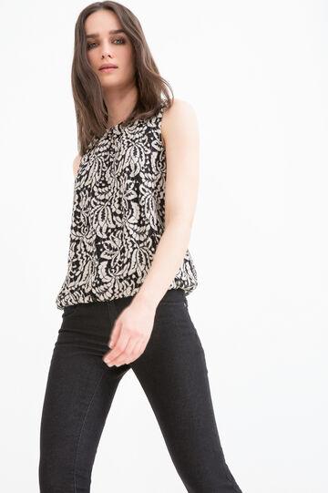 Cotton blend, openwork blouse