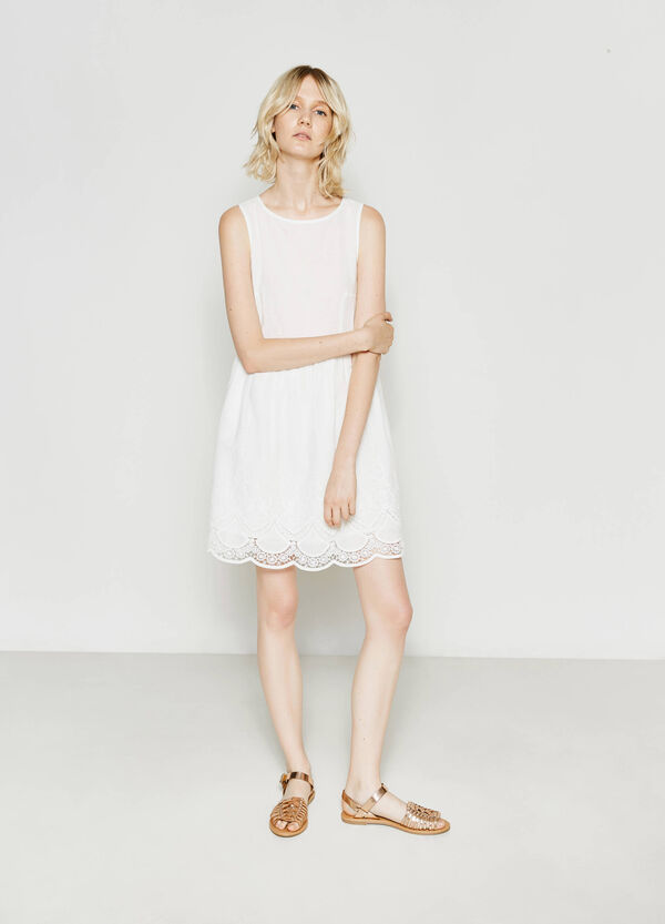 100% cotton dress with lace   OVS