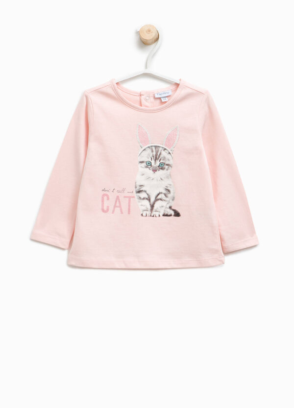 T-shirt with cat print and diamantés | OVS