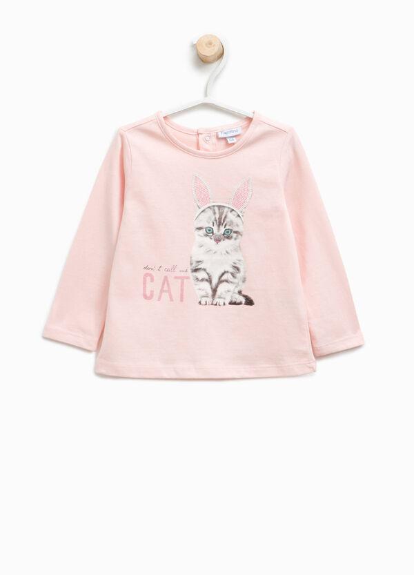 T-shirt con stampa gatto e strass | OVS