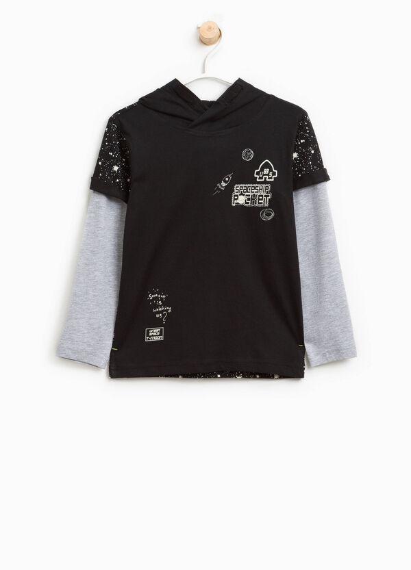 T-shirt con cappuccio e finto doppio | OVS