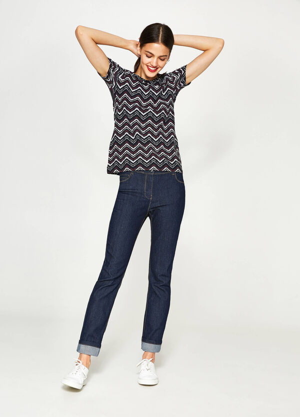 Cotton T-shirt with geometric pattern | OVS