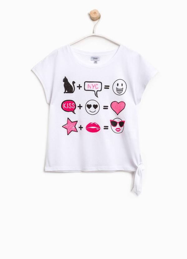 T-shirt con stampa e laccetto | OVS