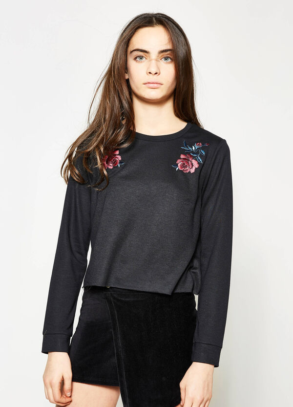 Teen crop sweatshirt with floral embroidery | OVS
