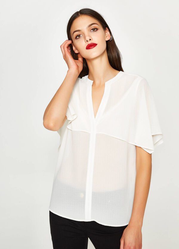 Blouse with V neck and insert   OVS