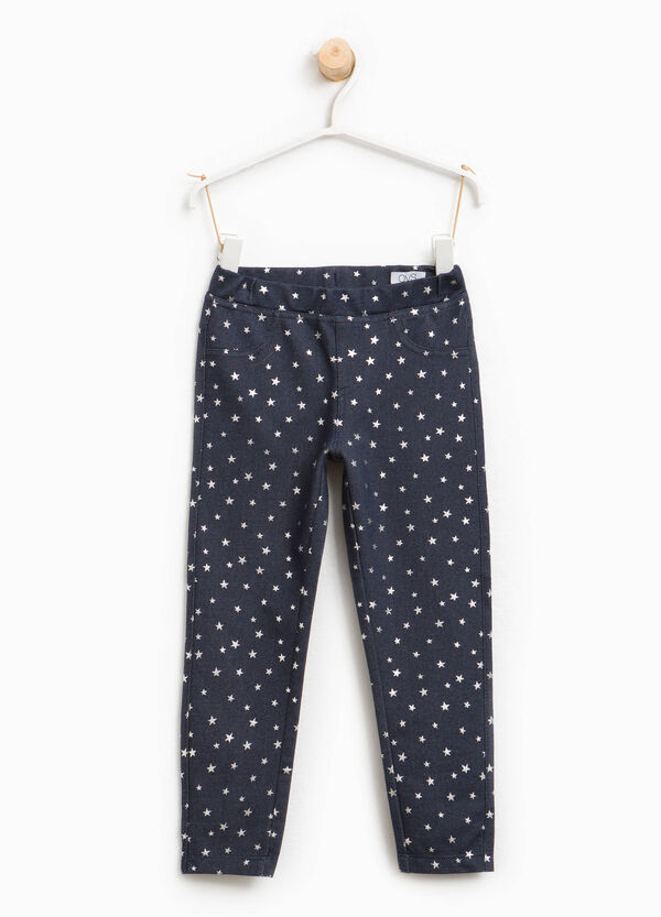 Stretch jeggings with star pattern | OVS