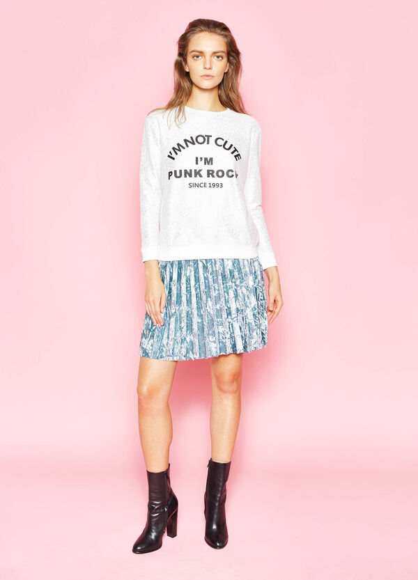 Sweatshirt in cotton with print and glitter | OVS