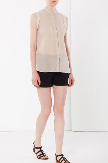 Linen blend sleeveless blouse